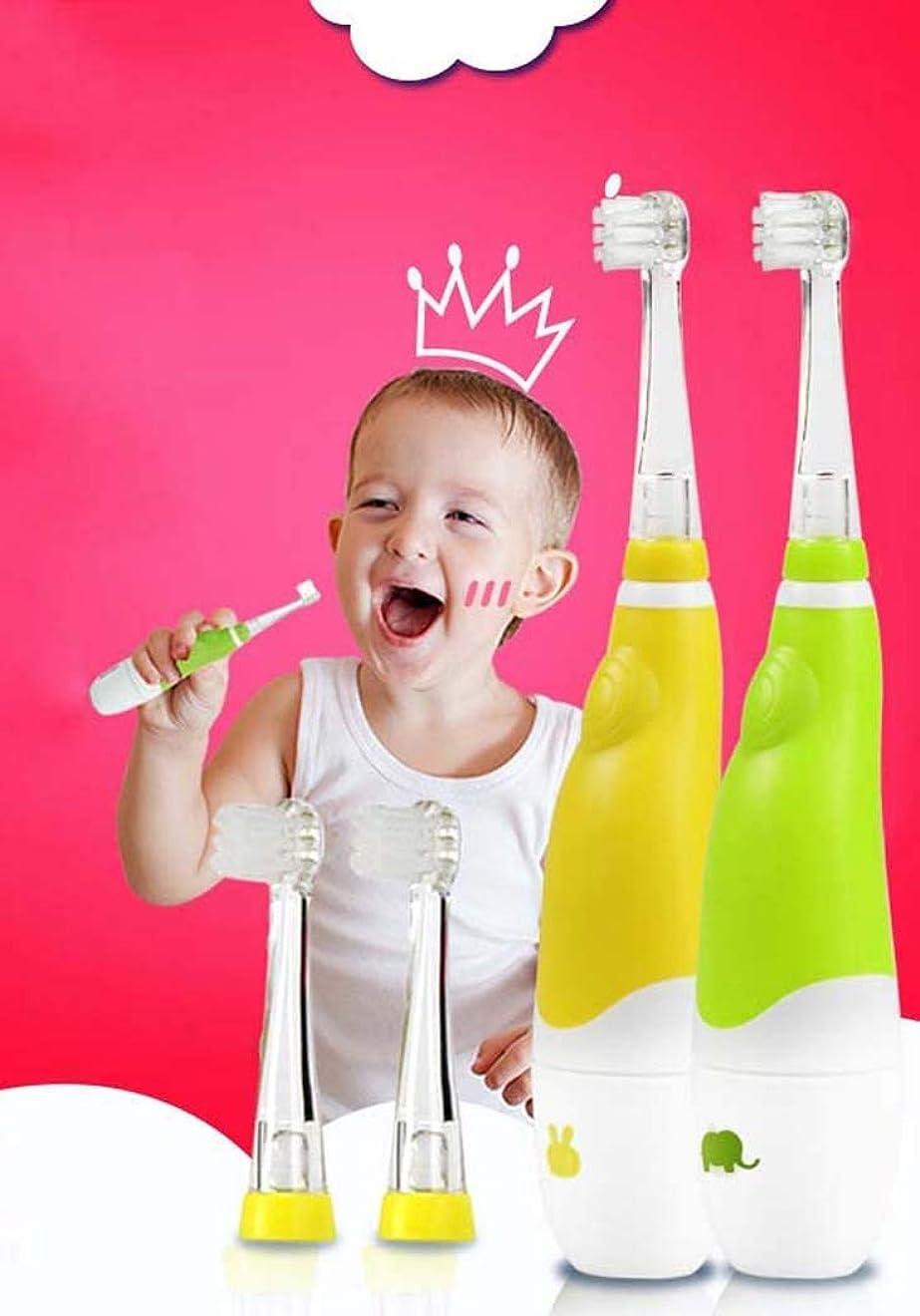 改修あえて提出する子供の電動歯ブラシ、赤ちゃんの自動歯ブラシ、スマートタイマー付きミュート防水電動歯ブラシ、0?4歳、乾電池(色:黄色)