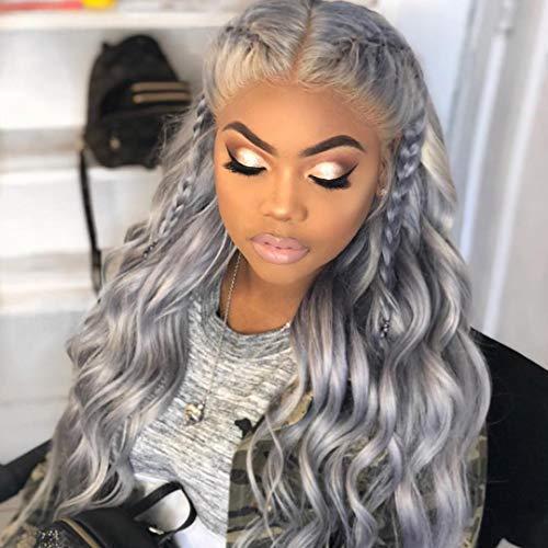 低価格 Silver Grey 新作アイテム毎日更新 Human Hair Wigs 100% L Lace Front Wig Full Brazilian