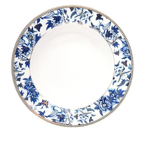 JONJUMP Plato de sopa de porcelana plato de cena de hueso con incrustaciones de oro y platos florales para el hogar plato de boda plato de sopa vajilla