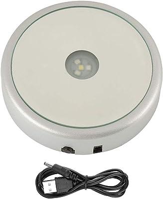 Hilitand 4 Tipos de Base de Soporte de exhibición de Cristal de luz LED de Colores para decoración del hogar (Las baterías no están Incluidas)(Espejo Redondo, batería de 4 Leds USB)