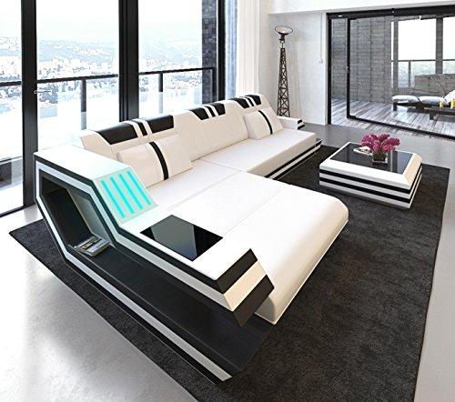 Schlichter Möbel Wohnmöbel Stockholm - Juego de sofá tapizado, color blanco y negro