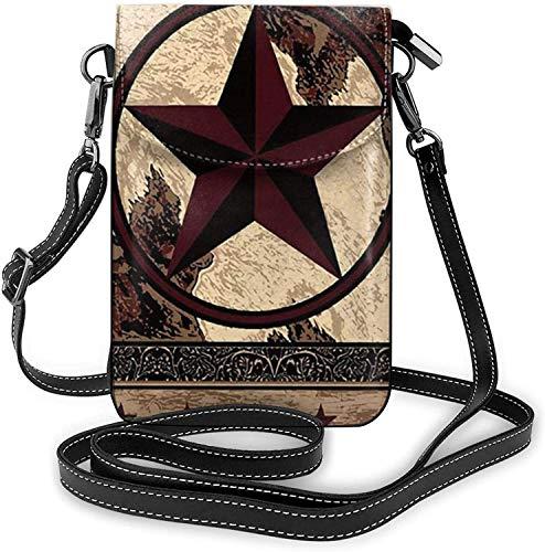 La moda del teléfono celular monedero de estilo vintage estrellas en panel de madera pequeño Crossbody bolsos mujeres niña pu bolso de hombro bolso