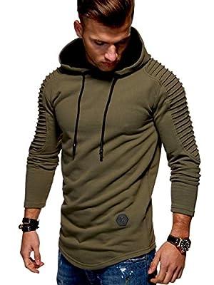 Behype Men's Sweater Jumper Biker Hoodie Sweatshirt Pullover Longsleeve MT-1116 (Khaki,L)