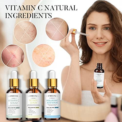 51AnF8DKEOL. SL500  - Emieline Anti Aging Serum, Vitamin C Serum, Retinol Serum, Hyaluronic Acid Serum, Face Serum Set Natural Organic with Apply to Brightening, Anti Wrinkle, Dark Spot Corrector for Face, Moisturizing