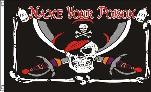 Pirate Skull with Eye Patch Flag for Halloween Party Decoration