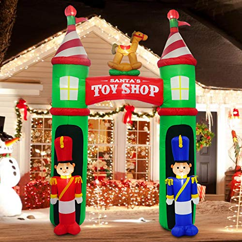 inslife 10 Ft Inflatable Santa Toys Shop Arch Decorations for Xmas Light Up