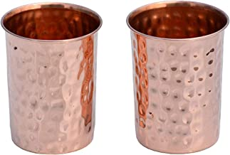 HealthAndWealth - Hammered Pure Copper Tumbler Set of 2 | Pure Copper Water Mug | Hold 250 ML Water For Ayurvedic Health Benifits