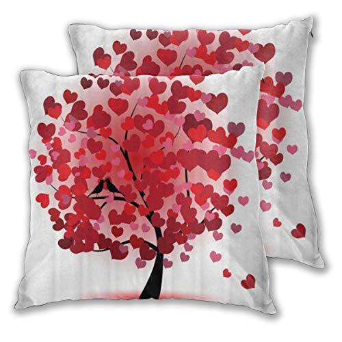 MOBEITI Juego de 2 Decorativo Funda de Cojín Árbol Rojo del corazón del Amor Funda de Almohada Cuadrado para Sofá Cama Decoración para Hogar,45x45cm