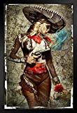 El Mariachi Muerte Amore by Daveed Benito Black Wood Framed Art Poster 14x20