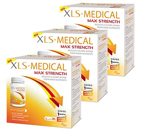 XLS-Medical MAX STRENGTH for weight loss | BIG VALUE PACK | Diet pills | Lose up to 4x more weight vs. dieting alone | CLINICALLY PROVEN natural active ingredient | Reach your weight loss goal even FASTER | Gentle on your system | FREE Support Program | 3 month value pack, 360 tablets with FREE pill box