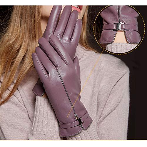 MX Frauen Winter Plus SAMT Verdickung Handschuhe, Warme Touchscreen-Handschuhe, Lila Reiten Fahren Lederhandschuhe,lila,XL