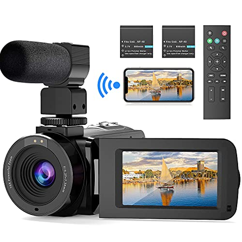 FamBrow video camera camcorder, WiFi Vlogging Camera with IR Night Vision 26MP UHD 16X Digital Zoom 3.0 Inch 270° Rotatable Screen Youtube camera recorder with Microphone Remote Control 2 Batteries