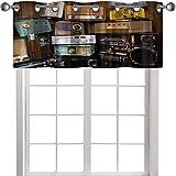 YUAZHOQI Cenefa de cortina con diseño de radio vintage, 137 x 45 cm, para cocina, salón comedor