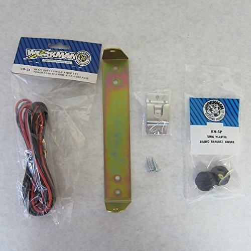Workman Cobra 29 CB Radio Mount Bracket kit (Power Cord, knobs, Bracket, mic Clip)