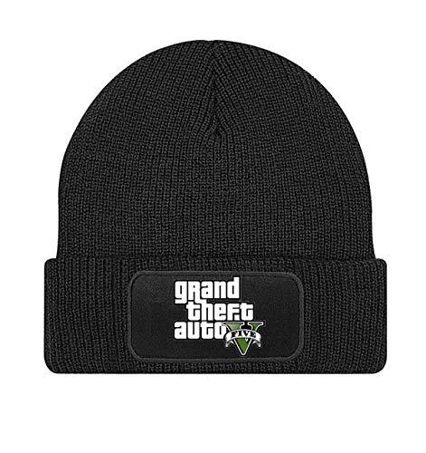 mmshop18 GTA V GTA 5 Grand Theft Auto 5 Rockstar Jogos Games Logo Negro Beanie Gorros de Punto - Stick146