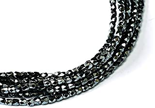 150 pcs Czech Fire-Polished Faceted Glass Beads Round 2mm Jet Hematite