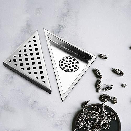 DYR Dreieck Balkon Bad Ecke Bodenablauf Deodorant Boden Duschablauf mit Edelstahl-Abfallgittern, Tiefe Versiegelung