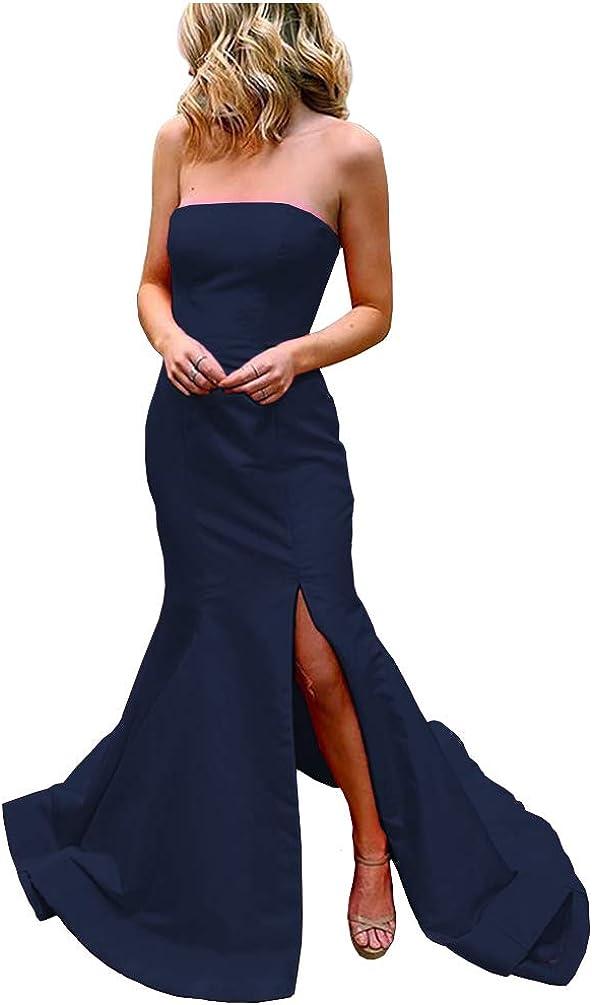 Promworld Women's Mermaid Split Strapless Long Prom Dresses Bridesmaid Dresses