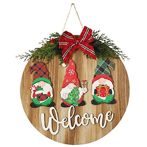 Jodsen Cartello per Ghirlanda, Cartello di Benvenuto per Porta, Appendiabiti per Porta in Legno Rustico Decorazione per Portico per Porta d'ingresso Ghirlanda di Babbo Natale
