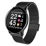Reloj Inteligente de Pantalla en Color de 1.3 Pulgadas Hombres Mujeres Monitor de Ritmo cardíaco Rastreador de Ejercicios Relojes Deportivos inalámbricos Impermeables para Android iOS, W8 Acero Negro