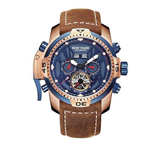 REEF TIGER Herren Uhr analog Automatik mit Leder Armband RGA3532-PLSR