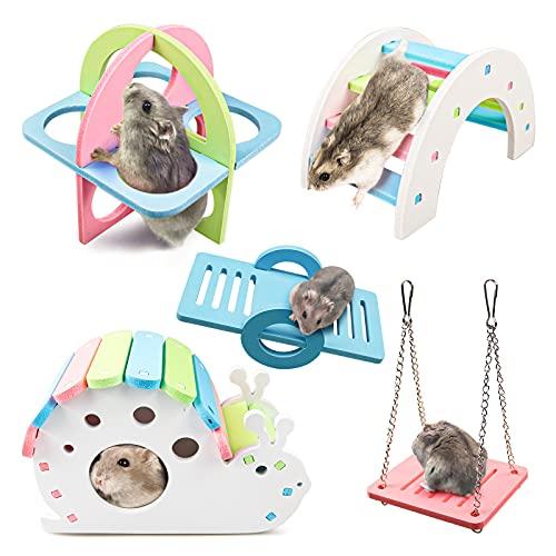 S-Mechanic 5 Stück Hamster Spielzeug, Hamster Haus DIY Regenbogenbrücke Wippe Schaukel und Trainingspielzeug Käfig Dekor Hamster Spielplatz Kleintier Spielzeug für Rennmäuse Ratten und Zwerghamster