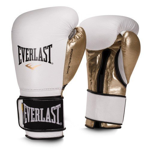Everlast Premium Leather POWERLOCK Hook & Loop Training Gloves (White/Gold, 12oz)