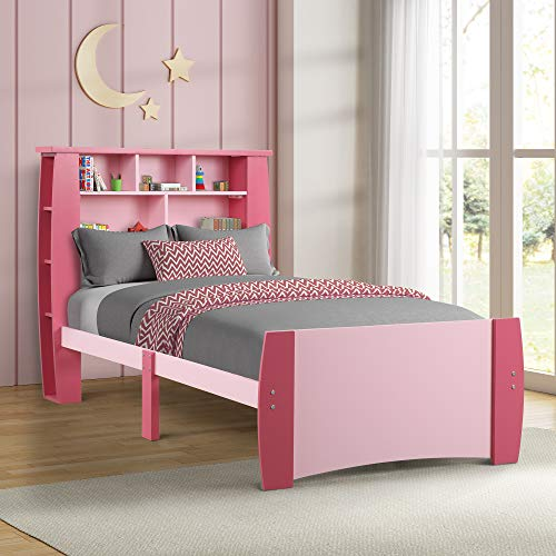 A childs bed with bookcase is a cute small kids bedroom idea to save space