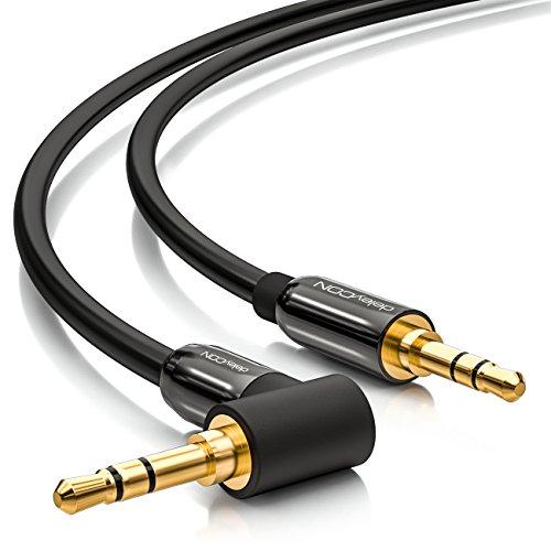 deleyCON 0,5m Klinkenkabel 3,5mm AUX Kabel Stereo Audio Kabel Klinkenstecker 1x 90° gewinkelt für PC Laptop Handy Smartphone Tablet KFZ HiFi-Receiver - Schwarz
