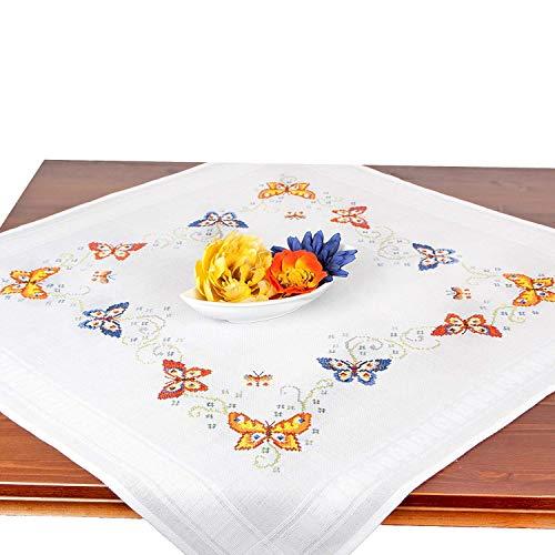 JIAJU Stickpackung Schmetterlinge, Komplettes vorgezeichnetes Kreuzstich Tischdecken Set Zum Sticken, Stickset mit Stickvorlage