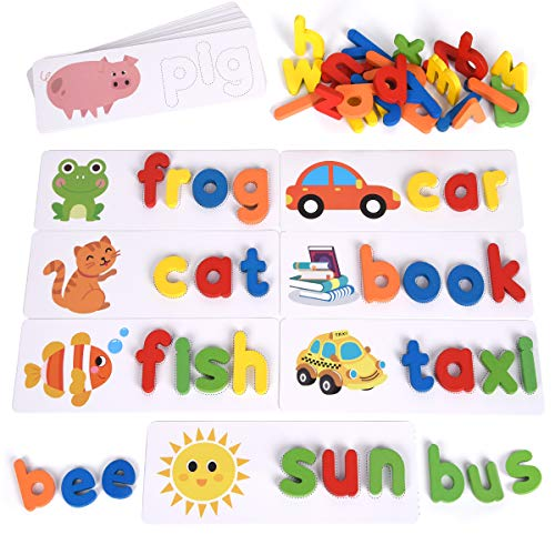 XREXS See and Spell Learning Toys, Matching Letter Puzzles Games, Sight Words Flash Cards Games Alphabet Educational Learning Toy for Kids Preschool Kindergarten
