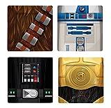 Conjunto de 4 Platos con Personajes Clásicos de Star Wars Chewbacca, R2-D2, C-3PO y Darth Vader