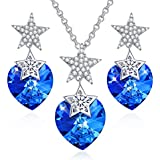 CLOT EVIL Heart Jewelry Sets for Women Sapphire Blue Crystal Necklaces Earrings Sets 18K White Gold Plated Star Necklace and Stud Earring Gifts for Woman