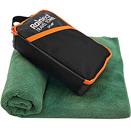 Rainleaf Microfiber Towel,Perfect Fast Drying Towel,Backpacking Towel,Swimming Towel, Absorbent Towel,Microfiber Towels for Body,Ultra Compact-Soft -Lightweight,Dark Green 30'x51'