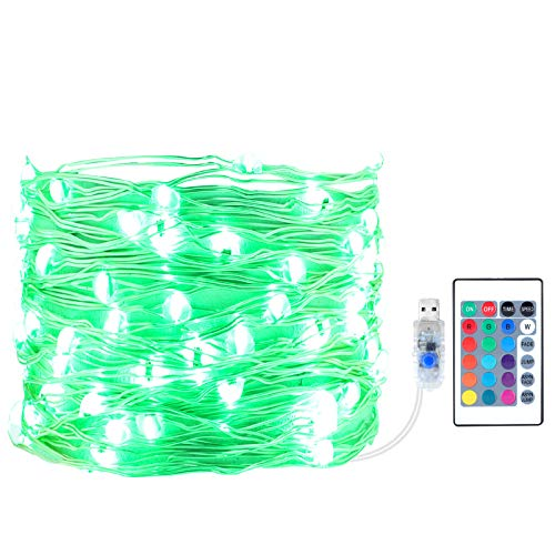 Led String Lights, USB Powered 16 Multi Colors Changing Fairy Lights with Remote, 33FT 100 LEDs Indoor Silver Wire Lights for Bedroom, Patio, Outdoor Garden, Christmas Tree
