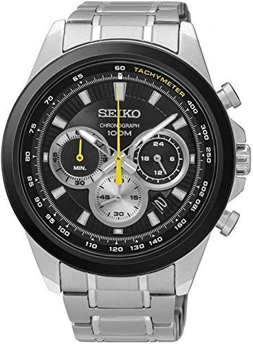 Seiko Heren 45mm Staal Armband & Kast Kwarts Zwart Wijzerplaat Analoog Horloge SSB247P1