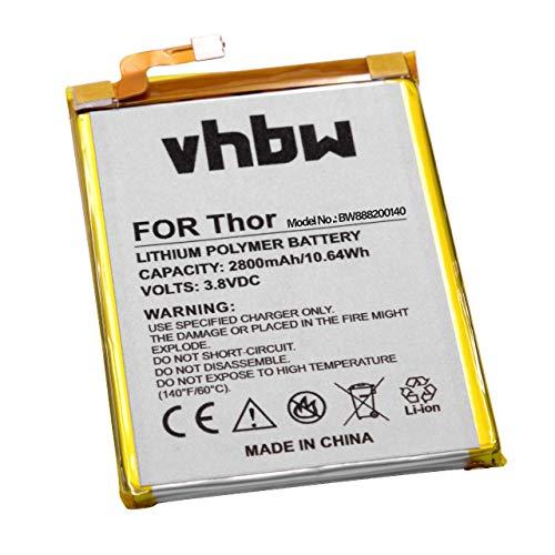 vhbw Akku kompatibel mit Vernee Thor Handy Smartphone Handy (2800mAh, 3,8V, Li-Polymer)
