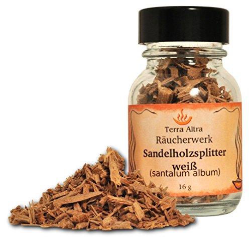 Alterras - Räucherholz: Sandelholzsplitter weiß Weithalsflasche 50ml 16g