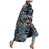 Women Vintage Trench Coat,Memela Women's Autumn Long Sleeve Pea Coat Lapel Open Front Long Jacket Overcoat Outwear Cardigan Black
