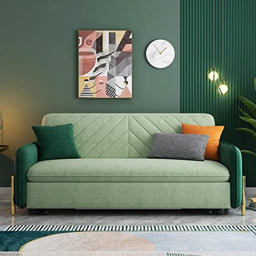 Tela Sofá cama convertible, apartamento plegable Sala de estar completo de sofá Sofá Sofá Muebles Cómodo Asiento de cojín, práctica Función de caja de almacenamiento, capacidad de apoyo fuerte,2M