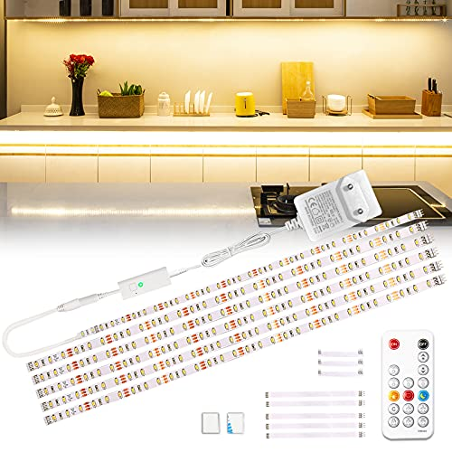 Wobsion LED Unterbauleuchte, 3m Warmweiß LED Streifen, SchrankLicht Küchenbeleuchtung, Helle Lichtleiste mit Drahtlose Fernbedienung, 6X50cm LED Strip Dimmbar, 2700K LED Band 1500 lm Küchenlampe