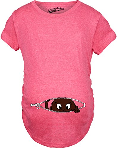 Crazy Dog Tshirts - Maternity African American Baby Peeking Funny T Shirts Pregnancy Annoucement T Shirt (Pink) - S - Femme