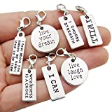 WOCRAFT 20pcs Craft Supplies Handmade Assorted Antique Silver Inspiration Words Dangle Charms Pendant with Lobster Clasp for Jewelry Making Accessory Fit Floating Locket Charms Necklaces (M305)