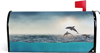 Auskid Sunrise Dolphin Mailbox Covers Magnetic Letter Post Box Cover Garden Home Decor Standard Size 20.7 x 18 Inch