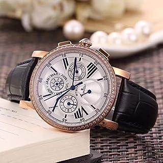 HNOLVH - Nuevos Hombres Reloj Mecánico Automático Oro Rosa Diamantes Cuero Tourbillon Moonphase Dual Time Sapphire