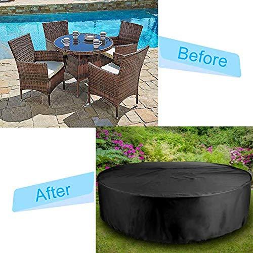 Woodside Negro Grande Redondo conjunto de muebles para patio de jardín al aire libre Cubierta 2.27m X...