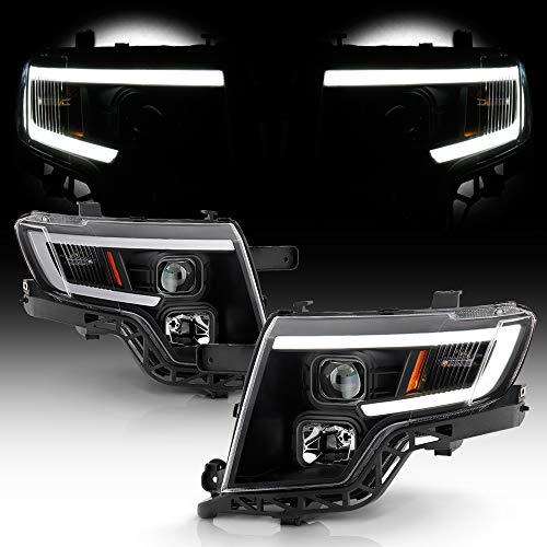 ACANII - For 2007-2010 Ford Edge LED Tube Style Black Housing Projector Headlights Headlamps Assembly Driver & Passenger