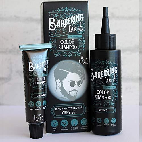 Champú de color vegano para cabello/barba/bigote en solo 5 minutos (sin amoníaco) (gris)