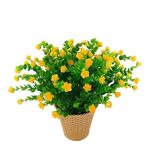 LERT Flores Artificiales de eucalipto, Ramo de Flores de Plantas Verdes, Flores de decoración de plástico para jardín/hogar/Boda/Fiesta, 4 Piezas (Amarillo)
