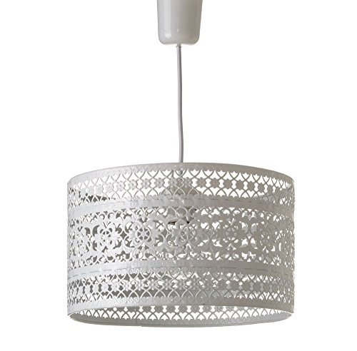 Lámpara de techo de metal blanca de 18x29x29 cm.